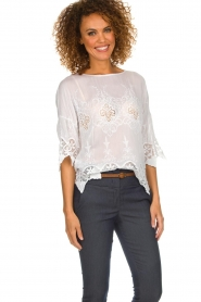 Fracomina |  Top with lace Donnatella | white  | Picture 5
