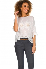 Fracomina |  Top with lace Donnatella | white  | Picture 4