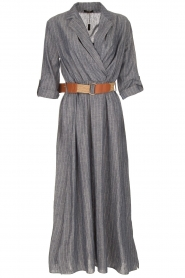 Fracomina |  Pinstripe midi dress Selina | blue  | Picture 1