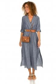 Fracomina |  Pinstripe midi dress Selina | blue  | Picture 3