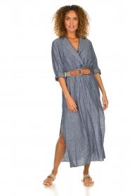 Fracomina |  Pinstripe midi dress Selina | blue  | Picture 4