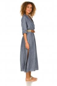 Fracomina |  Pinstripe midi dress Selina | blue  | Picture 5