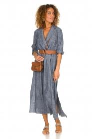 Fracomina |  Pinstripe midi dress Selina | blue  | Picture 2