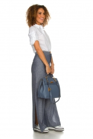 Fracomina |  Pinstripe trousers Mell | blue  | Picture 3