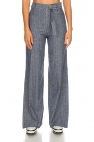 Fracomina |  Pinstripe trousers Mell | blue  | Picture 4