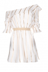 Fracomina |  Striped off-shoulder dress Beau | white   | Picture 1