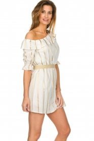 Fracomina |  Striped off-shoulder dress Beau | white   | Picture 5