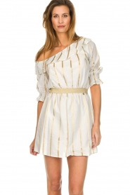 Fracomina |  Striped off-shoulder dress Beau | white   | Picture 4
