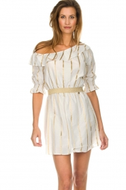 Fracomina |  Striped off-shoulder dress Beau | white   | Picture 2