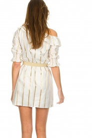 Fracomina |  Striped off-shoulder dress Beau | white   | Picture 6