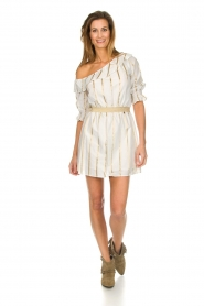 Fracomina |  Striped off-shoulder dress Beau | white   | Picture 3