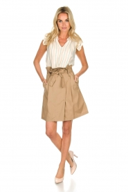 Fracomina |  Paperbag skirt Flaire | beige  | Picture 3