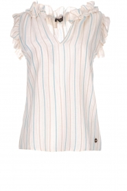 Fracomina |  Striped top with ruffles Butter | natural  | Picture 1