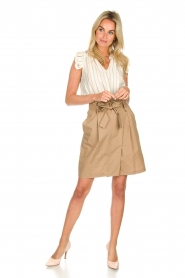 Fracomina |  Striped top with ruffles Butter | natural  | Picture 3