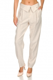 Fracomina |  Striped pants Bliss | beige  | Picture 2