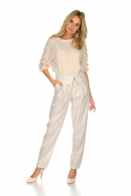 Fracomina |  Striped pants Bliss | beige  | Picture 3