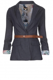Fracomina |  Belted blazer Ella | denimblue  | Picture 1