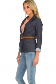 Fracomina |  Belted blazer Ella | denimblue  | Picture 4