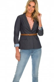 Fracomina |  Belted blazer Ella | denimblue  | Picture 2