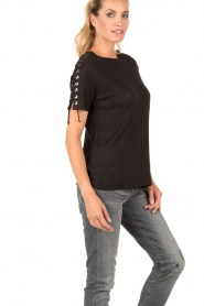 Linnen lace-up T-shirt Steiro | zwart