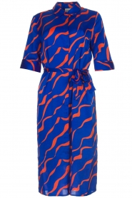Dante 6 |  Printed satin midi dress Misty | blue  | Picture 1