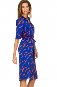 Dante 6 |  Printed satin midi dress Misty | blue  | Picture 5