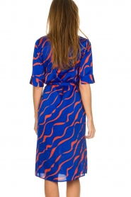 Dante 6 |  Printed satin midi dress Misty | blue  | Picture 6