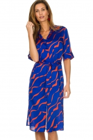 Dante 6 |  Printed satin midi dress Misty | blue  | Picture 2