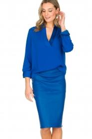 By Malene Birger | Leren kokerrok Floridia | blauw  | Afbeelding 2