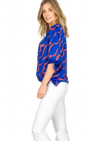 Dante 6 |  Satin top with bow cuffs Marble Print | blue  | Picture 4