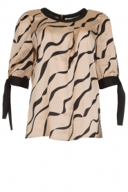 Dante 6 |  Satin top with bow cuffs Marble Print | beige  | Picture 1
