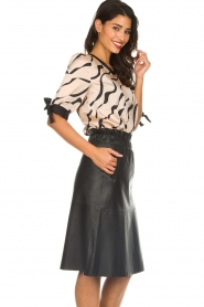 Dante 6 |  Satin top with bow cuffs Marble Print | beige  | Picture 4