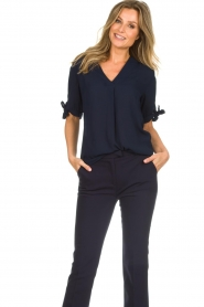 Dante 6 |  Top with bow sleeves Lana | dark blue  | Picture 4