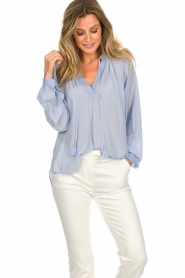 Dante 6 |  Wide blouse with tassels Beadu | light blue  | Picture 2