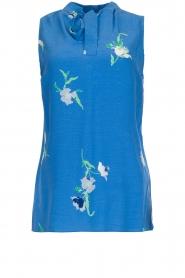 Dante 6 | Mouwloze top met bloemenprint Solene | blauw  | Afbeelding 1