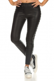 Dante 6 |  Leather pants with lace-up details Addict | black  | Picture 2