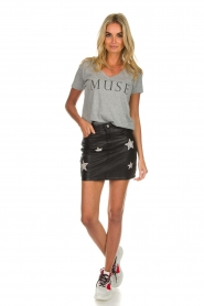 OAKWOOD |  Leather skirt with stars Meryl | black  | Picture 3
