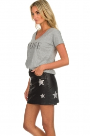 OAKWOOD |  Leather skirt with stars Meryl | black  | Picture 4
