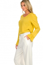 Aaiko |  Polkadot top with ruffles Valery | ochre yellow  | Picture 5