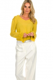 Aaiko |  Polkadot top with ruffles Valery | ochre yellow  | Picture 2