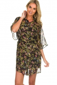 Aaiko |  Floral dress Emy | black  | Picture 2