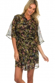 Aaiko |  Floral dress Emy | black  | Picture 4