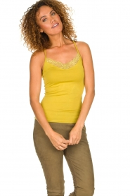 Aaiko |  Top with lace Jolie | ochre yellow  | Picture 4