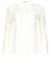 Aaiko |  Blouse with lace sleeves Cita | white  | Picture 1