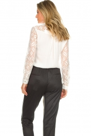 Aaiko |  Blouse with lace sleeves Cita | white  | Picture 5