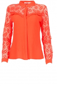 Aaiko |  Blouse with lace sleeves Cita | coral  | Picture 1