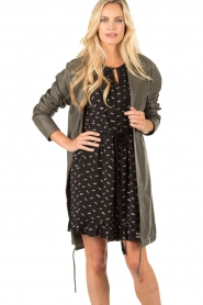 Leather coat May | grey