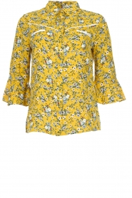 Aaiko |  Floral blouse Silie | ochre yellow  | Picture 1