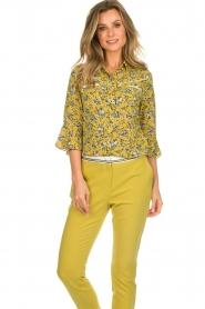Aaiko |  Floral blouse Silie | ochre yellow  | Picture 4