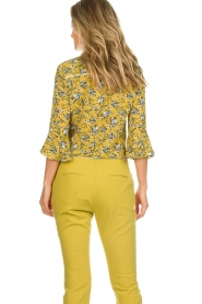 Aaiko |  Floral blouse Silie | ochre yellow  | Picture 6